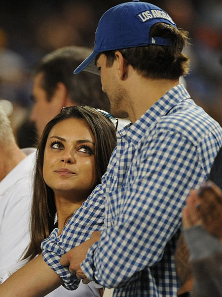 Pics! Mila Kunis and Ashton Kutcher at a Dodgers Game