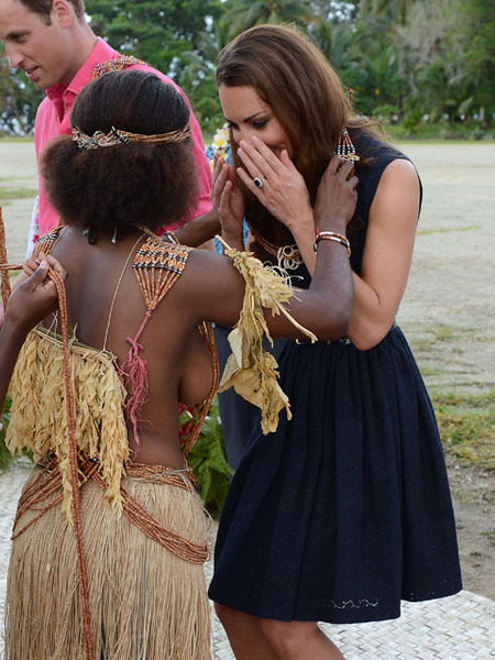 Kate Middleton Greeted by Topless Tribeswoman Amid Photo Scandal