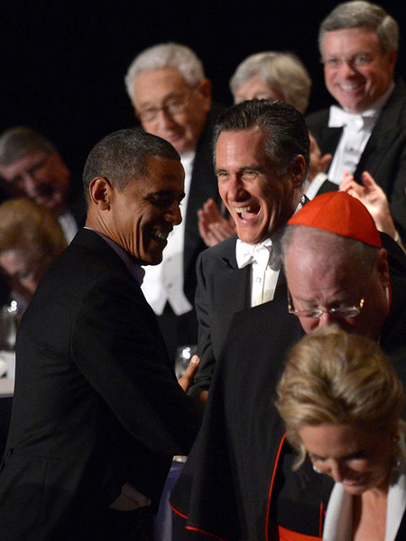 President Obama and Mitt Romney Trade Jokes and Jabs at Fundraiser