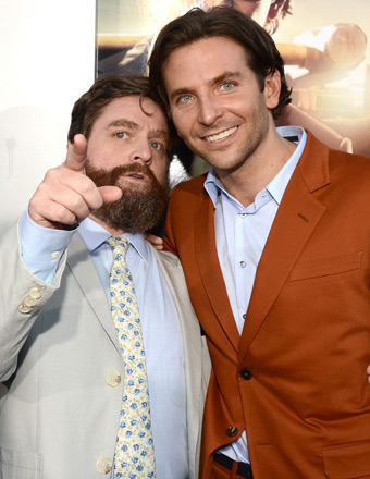 "Zach Galifianakis and Bradley Cooper caught up at the ""Hangover 3"" premiere in Hollywood on Monday."