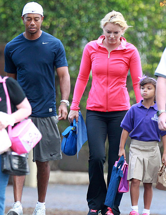 Pics! Tiger and Lindsey Take Kids to School… Together