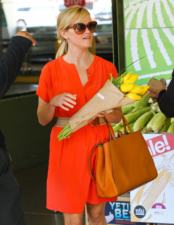 Reese Witherspoon picked up some flowers and a few groceries at Whole Foods in Westwood on Wednesday.