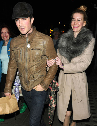 Ian Somerhalder was spotted with a mystery girl outside Groucho Club in London on Wednesday.