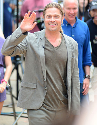 "Brad Pitt hit the streets at Times Square to make an appearance on ""Good Morning America"" on Monday."