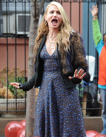 "Cameron Diaz belted a song on the set of ""Annie"" in NYC."
