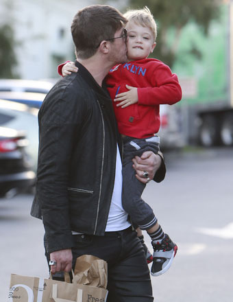 Robin Thicke and son Julian stopped to buy groceries at Bristol Farms in West Hollywood.