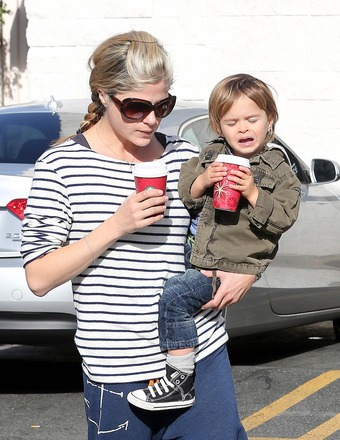 Selma Blair enjoyed her morning coffee with son Arthur.