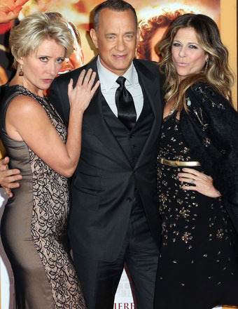 "Emma Thompson, Tom Hanks and Rita Wilson attended the ""Saving Mr. Banks"" premiere in L.A. on Monday."