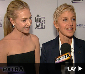 Ellen Degeneres and Portia DeRossi At The Genesis Awards