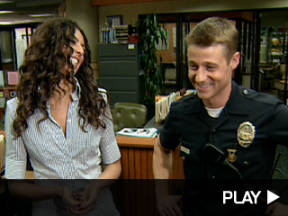 Ben McKenzie and Terri Seymour on the set of Southland