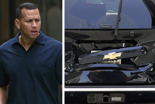 Alex Rodriguez's car in an accident