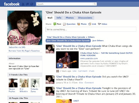 chaka khan facebook glee campaign
